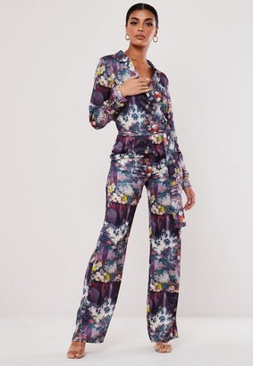 Missguided Purple Floral Straight Leg Satin Pants
