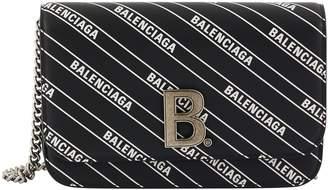 Balenciaga B leather purse with chain