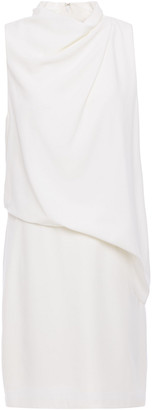 Halston Draped Crepe Mini Dress