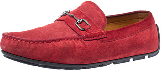 Gucci Maroon Suede Leather Horsebit Slip On Loafers Size 43.5