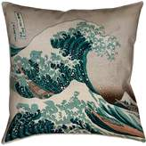 ArtVerse Katsushika Hokusai the Great Wave in Green and Brown x Pillow-Cotton Twill Double Sided Print with Concealed Zipper Cover Only,(HOK024P1616K)