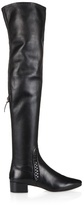 Francesco Russo Woven-detail nappa-leather over-the-knee boots