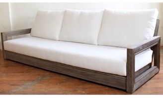 Brayden Studio Constance Teak Patio Sofa with Cushions Fabric: Flax