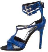Derek Lam Snakeskin Round-Toe Sandals