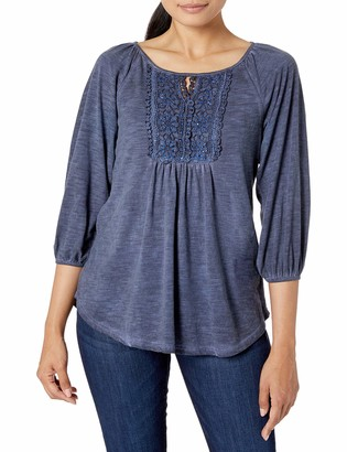 One World ONEWORLD Women's Petite 3/4 Ballon Sleeve Oil Wash Top with Keyhole Cutout