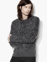 John Varvatos Leopard Jacquard Crewneck Sweater