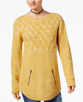 Hooked Up by Iot Juniors' Zip-Pocket Tunic Sweater