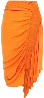 Preen Line Rosa Asymmetric Shirred Crepe De Chine Skirt
