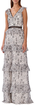 ML Monique Lhuillier Floral-Print Tiered Maxi Dress