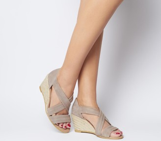 Office Maiden Cross Strap Wedges Camel Suede