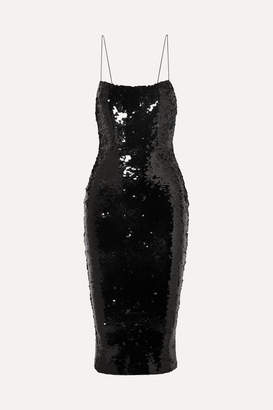 Alex Perry Sequined Crepe Dress - Black