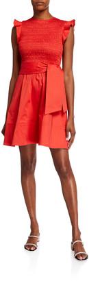Shoshanna Navia Smocked-Bodice Dress