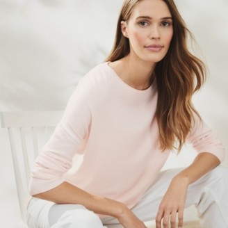 The White Company Tipped Crew-Neck Jumper, Petal Pink, 18