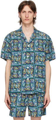 Beams Blue Beach Batik Print Shirt