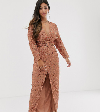 Asos DESIGN Petite maxi dress with batwing sleeve and wrap waist in scatter sequin-Brown