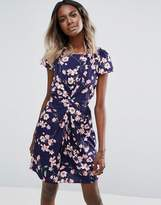Yumi Floral Dress With Front Gather