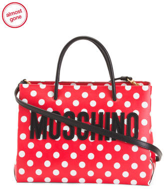 Made In Italy Leather Polka Dot Tote
