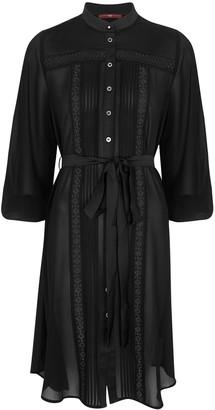 High Symmetry Black Chiffon Shirt Dress