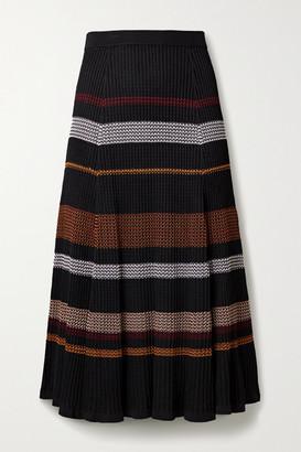 Proenza Schouler Striped Ribbed-knit Midi Skirt - Black
