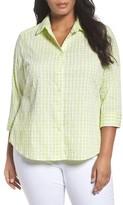 Foxcroft Plus Size Women's Gingham Shirt
