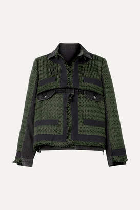 Sacai Paneled Canvas-trimmed Tweed And Denim Jacket - Army green