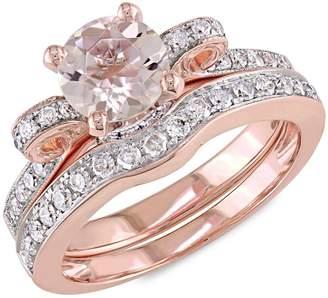 Concerto 14k Rose Gold Morganite and 0.5 CT TW Diamond 2-Piece Ribbon Bridal Ring Set