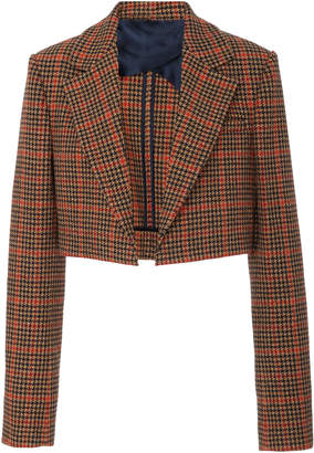Oscar de la Renta Cropped Plaid Wool-Blend Blazer