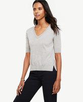 Ann Taylor Extrafine Merino Wool Short Sleeve V-Neck Sweater