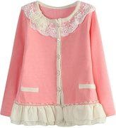 Richie House Girls' Cardigan with Layered Mesh Bottoms RH1432-A-02-7/8