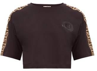 Fendi Logo-trimmed Cropped Cotton T-shirt - Womens - Black