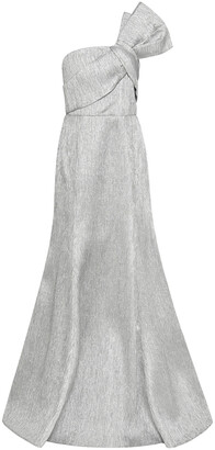 Safiyaa One-shoulder Bow-embellished Lame Gown