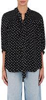 Current/Elliott Women's Floral-Print Crepe Tieneck Blouse-BLACK