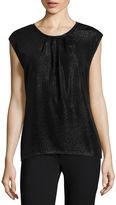 Liz Claiborne Short-Sleeve Pleat Neck Shine T-Shirt
