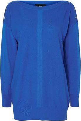Wallis Blue Stud Shoulder Tunic Jumper