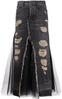 Unravel Project Destroyed Tulle Denim Skirt