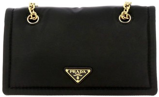 Prada Shoulder Bag In Nylon With Sliding Chain And Triangular Logo