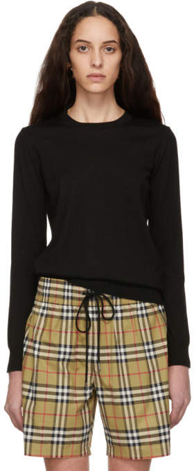 Burberry Black Merino Check Elbow Patch Sweater