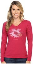 Life is Good Flower Long Sleeve Crusher Vee