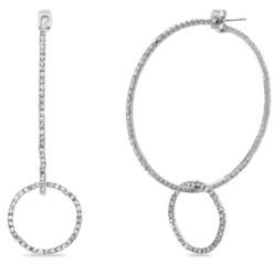 Kensie Rhinestone Circle Dangle Hoop Earring