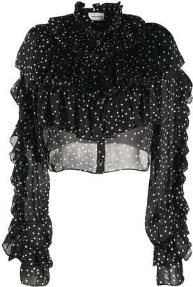 Magda Butrym silk polka dot ruffled blouse