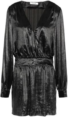 Frame Wrap-effect Metallic Velvet Mini Dress