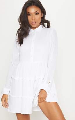 PrettyLittleThing White Shirt Layer Frill Dress