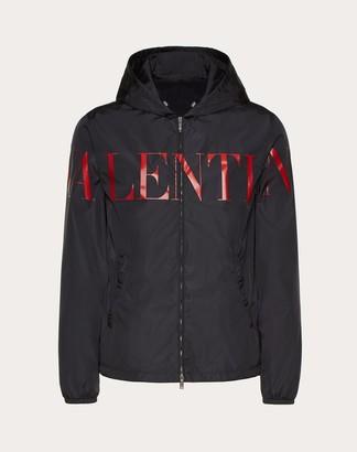 Valentino Uomo Windbreaker With Print Man Black/ Red Polyamide 100% 50
