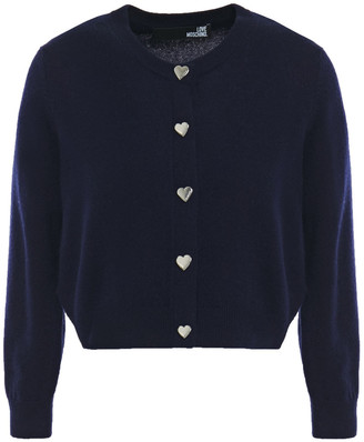 Love Moschino Cropped Snap-detailed Wool And Cashmere-blend Cardigan