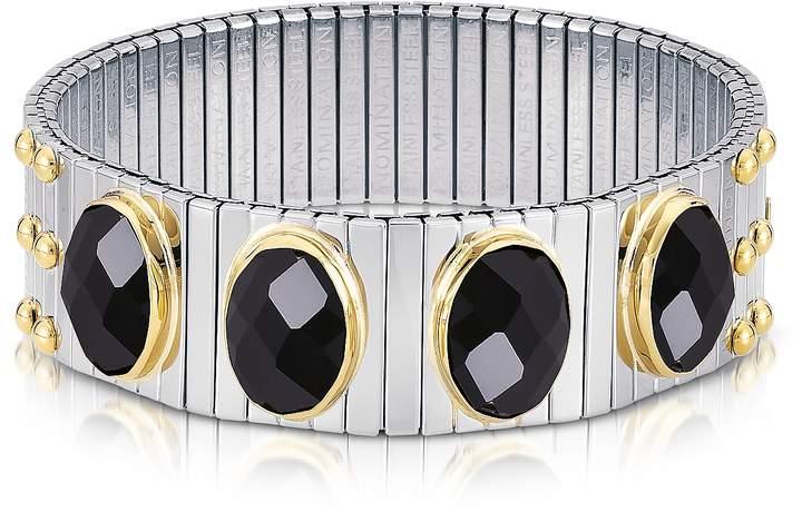 Nomination Four Black Cubic Zirconia Stainless Steel w/Golden Studs Women's Bracelet