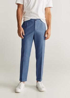 MANGO MAN - Slim-fit linen pants indigo blue - 32 - Men