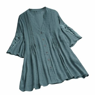 TWIFER Women Plus Size Stand Collar Long Sleeve Casual Loose Tunic Tops Lady Work T Shirt Blouse(Z-Blue M)