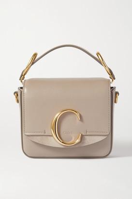 Chloé C Mini Suede-trimmed Leather Shoulder Bag - Gray