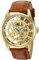 Adee Kaye Men's 'Glass Collection' Mechanical Hand Wind Stainless Steel and Leather Casual Watch, Color:Brown (Model: AK2296-MG)