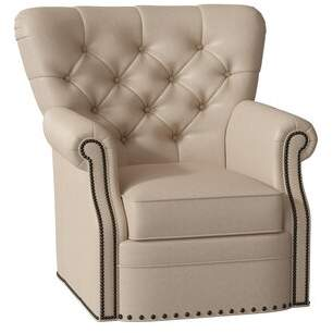 Bradington-Young Kirby Swivel Armchair Bradington-Young Body Fabric: Applause Coconut Husk, Nailhead Detail: Antique, Cushion Fill: Spring Down